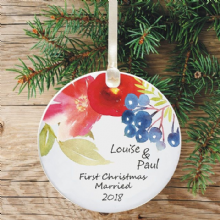 First Christmas Married Personalised  Ceramic Keepsake Decoration - Floral Watercolour Design